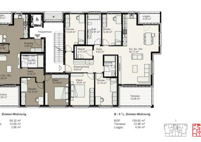 Grundriss Wohnungen B